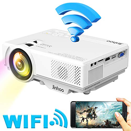 WiFi Mini Video Projector, Jinhoo 2019 Newest 1080P Supported, 2800 Lux HD Home Theater Systems with 176'' Projector Size, 50000 Hours Lamp Lifetime, Compatible with TV Stick, HDMI, USB, SD, VGA