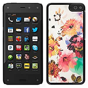 // PHONE CASE GIFT // Duro Estuche protector PC Cáscara Plástico Carcasa Funda Hard Protective Case for Amazon Fire Phone / Flowers Painting Pin Red /