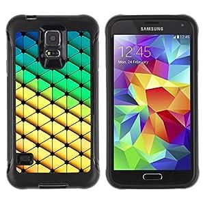iKiki Tech / Estuche rígido - Diamond Polygon Pattern Yellow Green - Samsung Galaxy S5 SM-G900