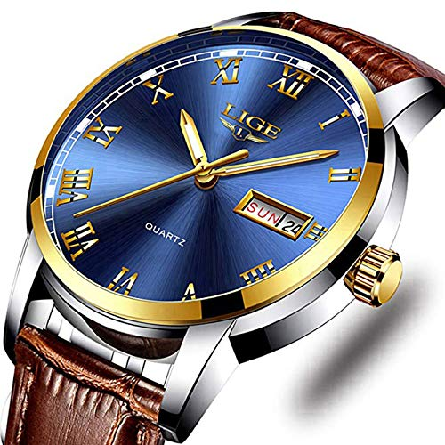 - Men's Sport Quartz Watch Roman Numeral Fashion Analog Luminous Wristwatch with Calendar Date,Waterproof 30M Water Resistant Comfortable Leather Watches Brown