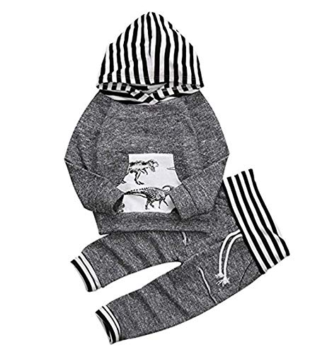 CPEI Toddler Infant Baby Boys Deer Long Sleeve Hoodie Tops Sweatsuit Pants Outfit Set (Gray, 18-24 Months)