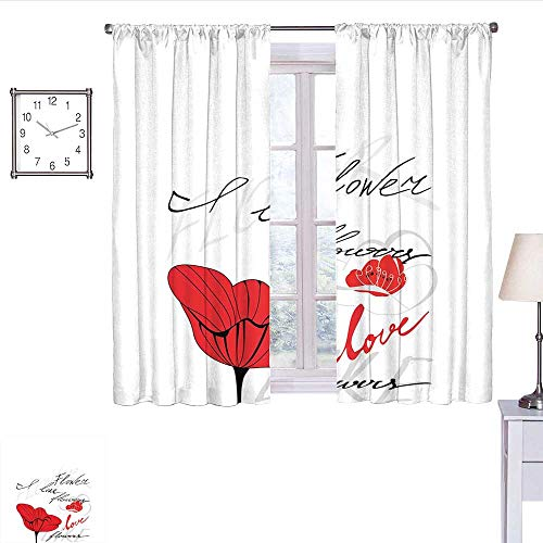 Poppy Room Darkening Curtains for Bedroom Stylized Red Blossom with Romantic Inscription Love of Nature and Flower Wall Curtain Scarlet Black Pale Grey W63 x L72