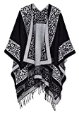 Urban CoCo Women's Printed Tassel Open front Poncho Cape Cardigan Wrap Shawl (Series 11-black)