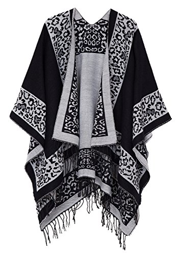 Urban CoCo Women's Printed Tassel Open front Poncho Cape Cardigan Wrap Shawl (Series 11-black) by Urban CoCo