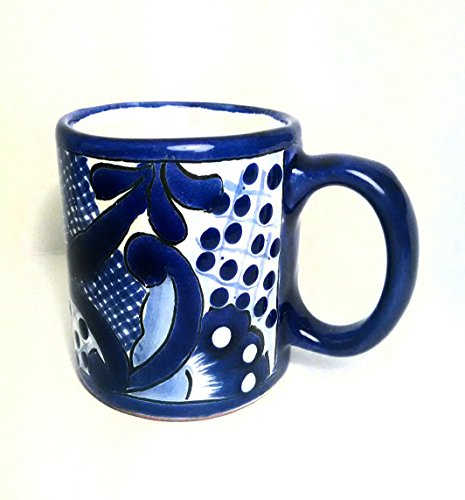 4' Blue Traditional Mexican Talavera Pottery Coffee Mug for Daily Use and Home Decor