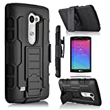 LG Risio Case, Starshop Full Protection Dual Layers Hybird Case with Kickstand and Locking Belt Swivel Clip With Premium Screen Protector Black