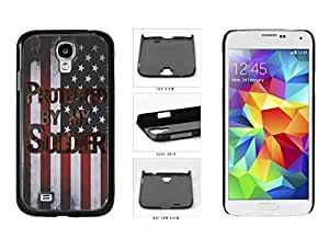 Camouflage Protected by Soldier on USA Flag Plastic Phone Case Back Cover Samsung Galaxy S4 I9500