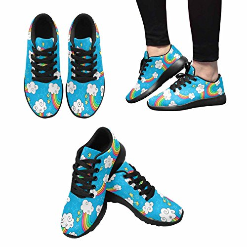 InterestPrint Womens Jogging Running Sneaker Lightweight Go Easy Walking Comfort Sports Athletic Shoes Rainbows Sky and Clouds Pattern Multi 1 WVKKKilb