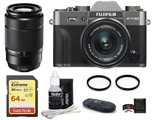 FUJIFILM X-T30 Mirrorless Digital Camera XC 15-45mm f/3.5-5.6 OIS PZ Lens (Dark Silver) 2 Lens Bundle with (XC 50-230mm f/4.5-6.7 OIS II Lens, Black)