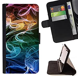 DEVIL CASE - FOR Samsung Galaxy S4 Mini i9190 - Smoke Fume Colorful Wallpaper Random - Style PU Leather Case Wallet Flip Stand Flap Closure Cover