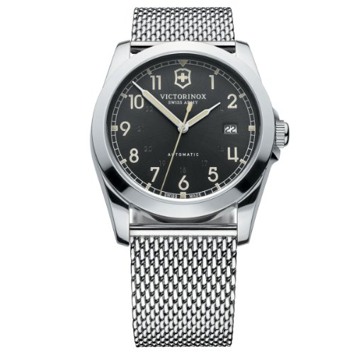 Victorinox Swiss Army Men's Infantry 241587 Silver Stainless-Steel Swiss Automatic Watch with Black Dial