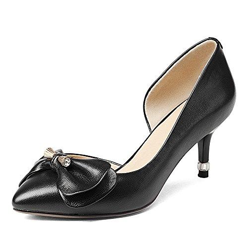 Nine Seven Cuero Puntiagudos Tacones de Aguja con Lazo de Vestir para Mujer negro