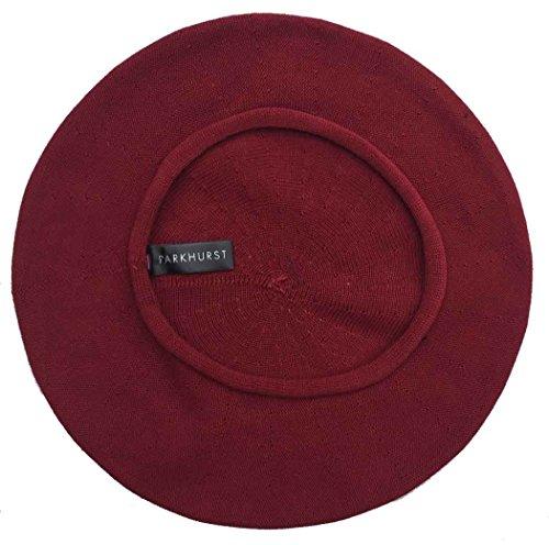 Parkhurst Canada 11-1/2 Inch Cotton Knit Beret, Claret