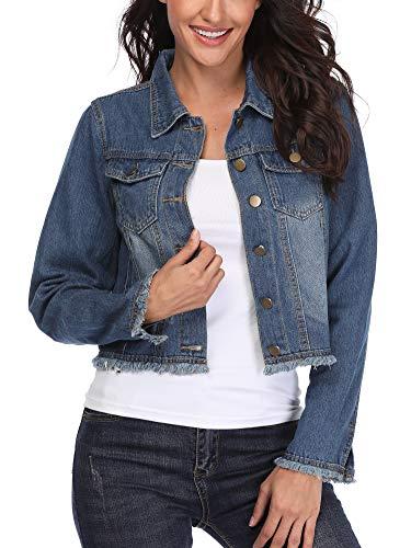 - MISS MOLY Women's Cropped Washed Long Sleeve Jean Denim Jacket Boyfriend Ripped Vintage 2 Western Pockets Blue Medium