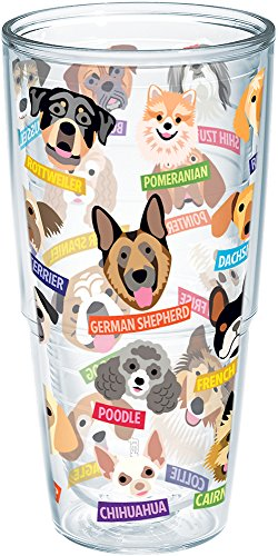 Tervis Flat Art Dog Breeds Wrap Clear Inner 24oz Tumbler with No Lid (Cute Dog Breeds)