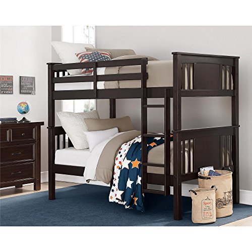 Dorel Living Dylan Kids Bunk Beds, with Guard Rail and Ladder,Wood, Twin Over Twin, Espresso