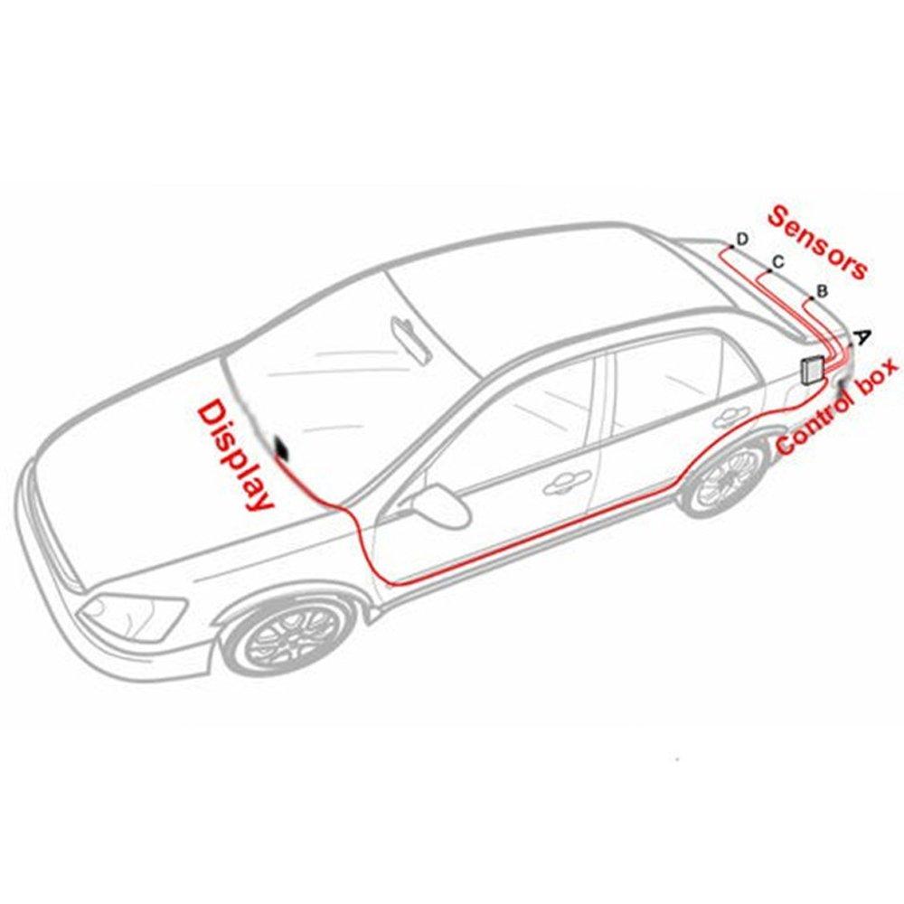 Tuqiang/® Einparkhilfe R/ückfahrwarner mit blauem LED Bildschirm Parksensoren Parkassistent mit 4 Sensoren