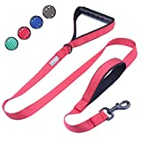 Vivaglory Dog Training Leash with 2 Padded Handles, Heavy Duty 6ft Long Reflective Safety Traffic Handle Leash Walking Lead for Medium to Large Dogs, Red