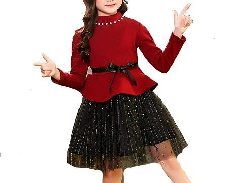 421ed887c66a1 Amazon.com: SAFJK Kids Girls Dress 2018 Autumn Winter Princess ...