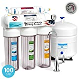 Express Water 5 Stage Under Sink Reverse Osmosis Filtration System 100 GPD RO Membrane Filter Deluxe Faucet Clear Housings Pressure Gauge - Ultra Safe Residential Water Purification One Year Warranty