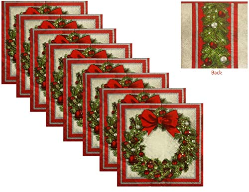 Christmas Theme Holiday Party Elegant Wreath Paper Lunch Napkins - 50 Count