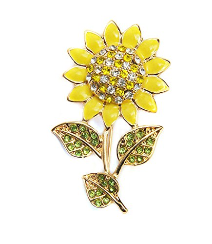 Ahugehome Womens Brooch Pin Sunflower Alloy Enamel Inlay Crystal Dress Shirt Suit Sweater Coat Gift Packaging (B Sunflower Enamel Yellow)