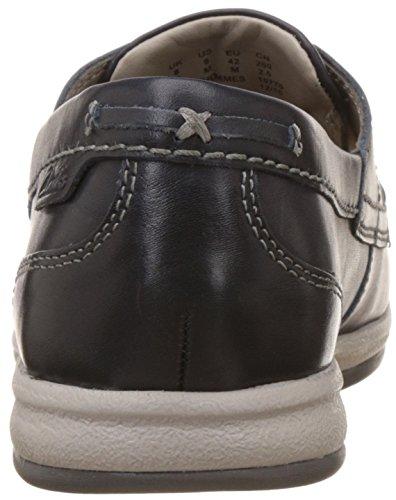 Clarks Casual Hombre Zapatos Fallston Style En Piel Azul