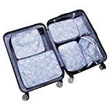 Stephenie 6pcs Different Size Set Travel Suit Bag Suitcase Waterproof Space Saver Bags Cube For Seasonal Clothes,Underwear Tourist Shoes Built-in clasp Travel Storage