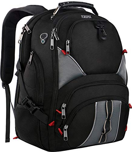 - YOREPEK 17 Inch Laptop Backpack,Large Travel Backpacks for International Travel,TSA Friendly Computer Backpack with USB Port for Men Women,Water Resistant College School Bag with Luggage Sleeve,Black