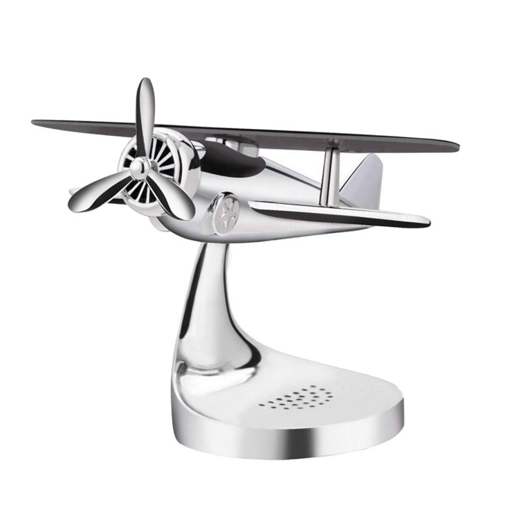 Ur HQCC Car Interior Decoration, Vintage Airplane Model Metal Handicraft, with Solar Wing for Car, Home, Office, Gift,White