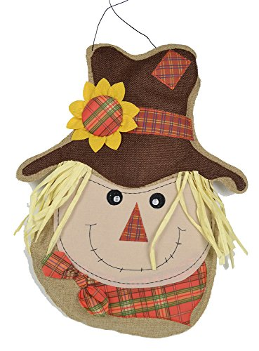 Scarecrow Door Decorations - Or Wall Hanging - Large 18x 11 Size - Colorful, Long-Lasting Design - Fall Door -
