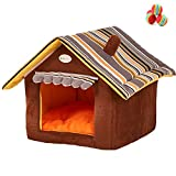 Cheap M&G House Dog Cat House, Foldable Indoor Pet Bed Soft Kennel Mat Pad Warm Puppy Cushion Basket Autumn Winter M