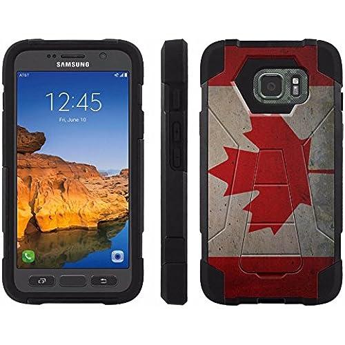 AT&T [Galaxy S7 Active] ShockProof Case [ArmorXtreme] [Black/Black] Hybrid Defender [Kickstand] - [Canada Flag] for Samsung Galaxy [S7 Active] Sales