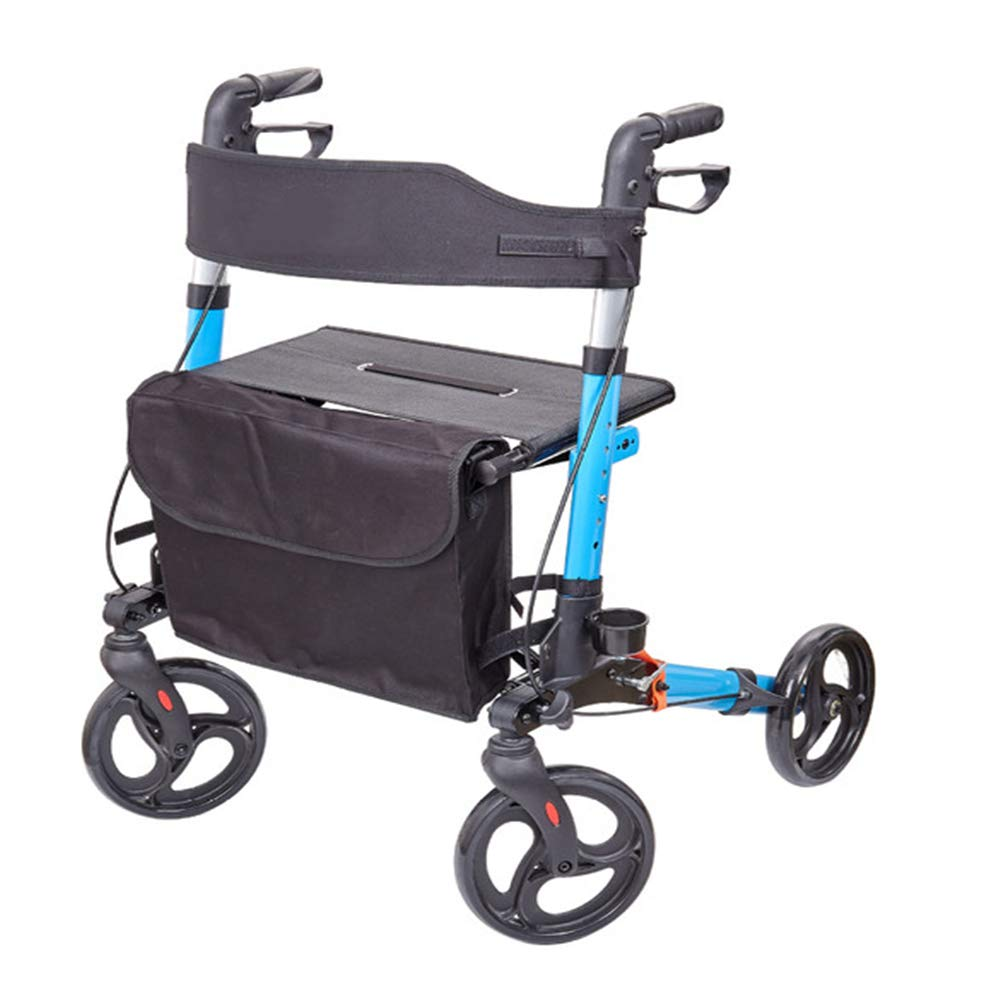 ANGELA Folding Rollator Walker, 4 Wheel, Lightweight Aluminum Material, Rolling Walker with Seat, It is Used for The Elderly, for Shopping Going Out by ANGELA