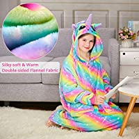 MHJY Dinosaur Blanket Sweatshirt Oversized Blanket Hoodie for Kids Soft Fleece Wearable Blanket with Large Side Pockets for Boys Girls,12 Years,Green