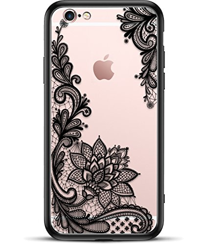 Viromo TM - Matte Phone Case for Apple iPhone 6S Plus for Girls Women with Cute Black Floral Design Shockproof Protective Slim Ultra Thin Hard Back Cover Rubber Bumper Cool Flowers Henna