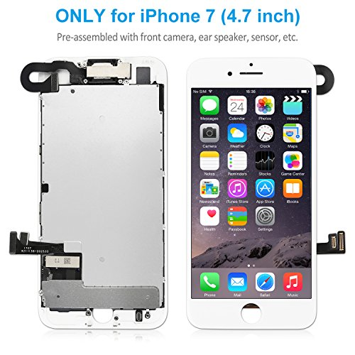 iPhone 7 Screen Replacement (4.7 inch) White – Corepair LCD Display Touch Digitizer Full Assembly with Front Camera, Ear Speaker, Repair Tools Kit and Screen Protector (iPhone 7 White)