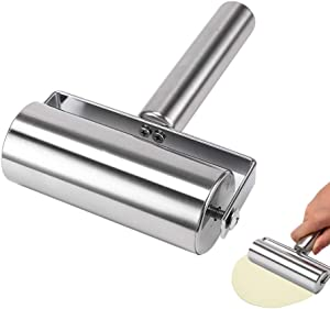 Stainless Steel Rolling Pin Pastry Pizza Fondant Bakers Roller Metal Kitchen Utensils Ideal for Baking Dough, Pizza, Pie, Pastries, Pasta and Cookies