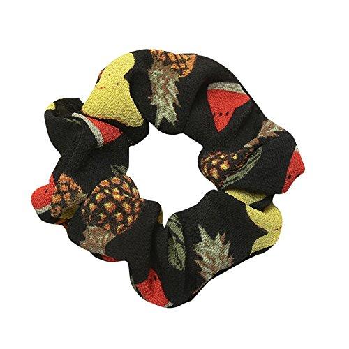 URIBAKE Women Elastic Hair Rope Ring Tie Fruits Print Cloth Scrunchie Ponytail Holder Hair Band Headband Black]()