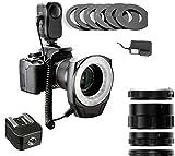 Playmont Macro Ring Light Kit + Macro Extension Tube Set + Hot Shoe Adapter, for Sony Alpha Series SLT-A3