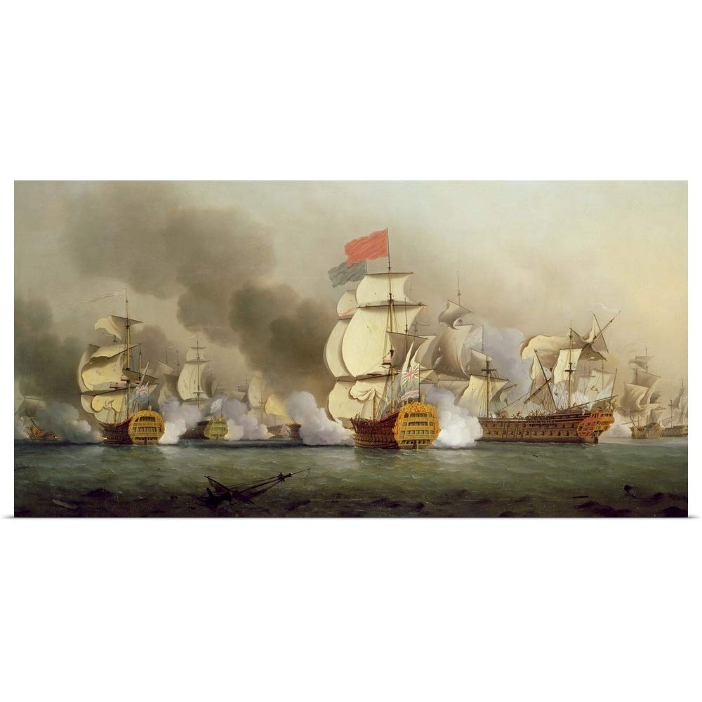 "GREATBIGCANVAS Poster Print Entitled Vice Admiral Sir George Anson's (1697-1762) Victory Off Cape Finisterre, 1749 by Samuel Scott 36""x18"""