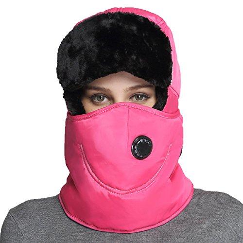 Hombres Winter Warm Bomber Hat Máscara A Prueba De Viento Winter Ear Flap Outdoor Sports Snow Máscara A Prueba De Viento Classic Rosered