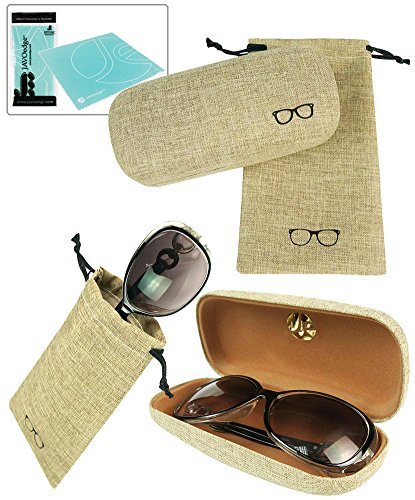 JAVOedge Khaki Fabric Hard Shell Eyeglasses Case + Matching Pouch Case with Bonus Microfiber Cleaning Cloth