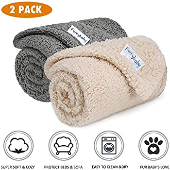 Premium Fluffy Fleece Dog Blanket, Soft and Warm Pet Throw for Dogs & Cats (2-Pack Small 24x32'', Grey&Beige)