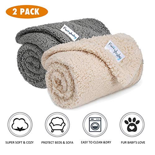 Furrybaby Premium Fluffy Fleece Dog Blanket, Soft and Warm Pet Throw for Dogs & Cats (2-Pack Small 24x32'', Grey&Beige)