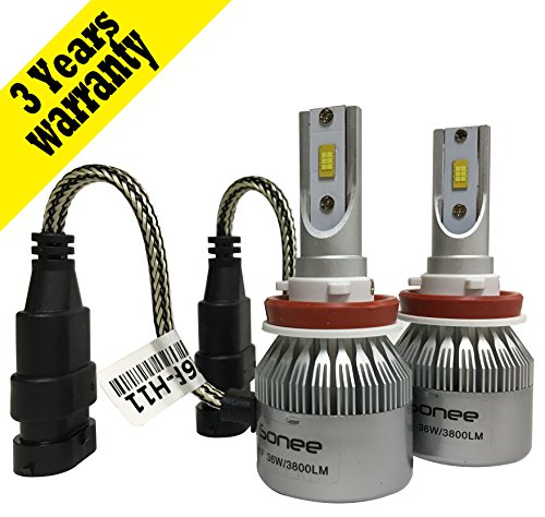 iSonee Philips LED Chip H8/H9/H11 LED Headlight Bulbs All in One Design 72W 7600LM 6000K Internal Driver Ballast - Internal Ballast