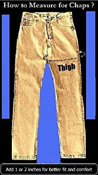 Unisex Heavy Duty Genuine cowhide leather Motorcycle chaps w silver hardware /& front pocket.