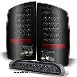 For Dodge Ram Pickup Truck Black Smoke LED Tail Lights Brake Lamps + Smoke LED 3rd Third Brake Lamps