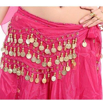 - 3 Row Belly Dance Hip Skirt Scarf Belt Waistband Dance Performance Supplies - Festival Gifts & Party Supplies Stage Performance Props - (Rose) - 1 x Belly Dance Belt Waistband