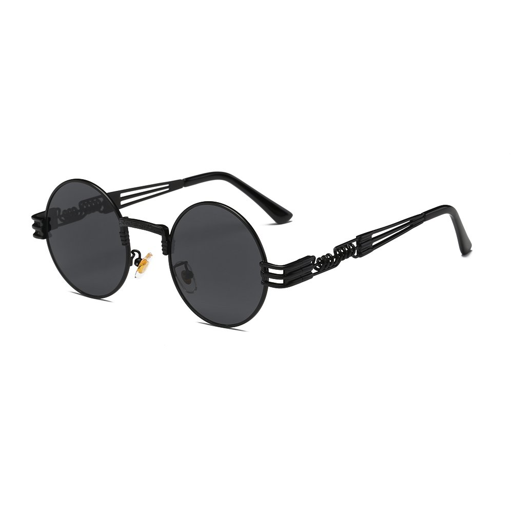 AIMADE Fashion Unisex Steampunk Sunglasses Round Circle Polarized Lens Metal Frame for Women and Men UV400 Protection,Blackblackgrey,49